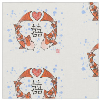 Koi Fish with Double Happiness Motif Fabric
