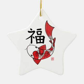 Koi Fish with Fortune Character Ceramic Star Decoration