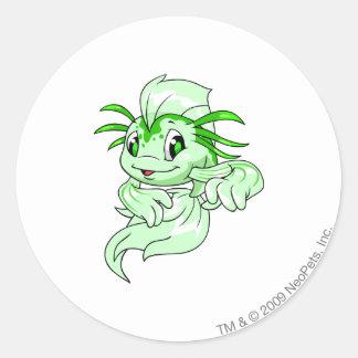 Koi Green Round Sticker