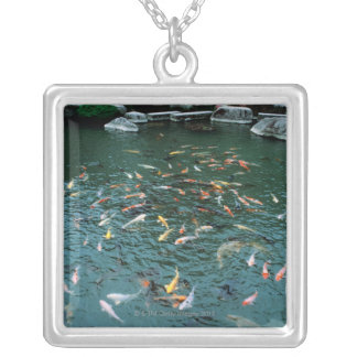 Koi in a Pond Silver Plated Necklace