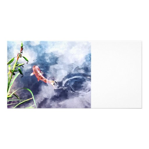 Koi in Swirling Water Custom Photo Card