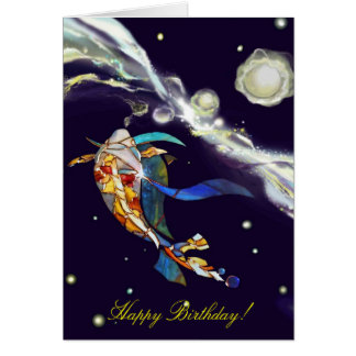 Koi in Universe Happy Birthday Greeting Card