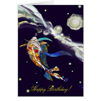 Koi in Universe Happy Birthday Greeting Card