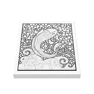 Koi Line Art Design Canvas Print