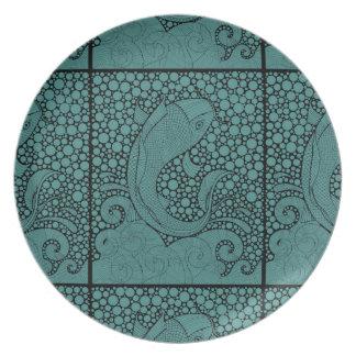 Koi Line Art Design Plate