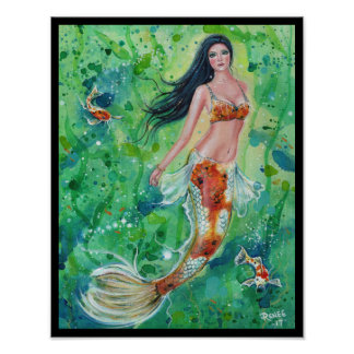 Koi mermaid garden poster print by Renee Lavoie