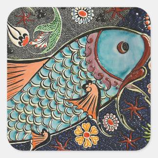 Koi Mosaic Square Sticker