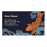 Koi (Navy Background) Double-Sided Standard Business Cards (Pack Of 100)