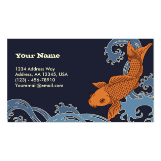 Koi (Navy Background) Business Card Templates