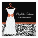 Koi Orange Gown Leopard PrintBridal Shower Personalised Invitations