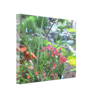 Koi Pond and Garden Canvas Design Gallery Wrapped Canvas