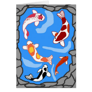 Koi pond blank card