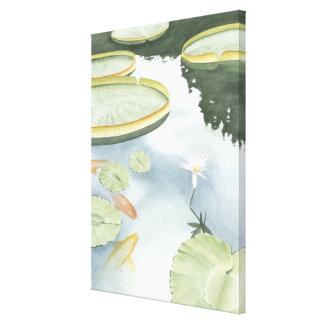 Koi Pond Reflection with Fish and Lilies Canvas Print