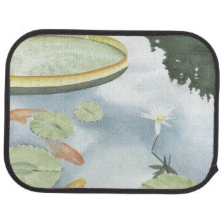 Koi Pond Reflection with Fish and Lilies Car Mat