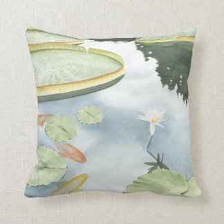 Koi Pond Reflection with Fish and Lilies Cushion