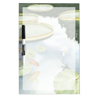 Koi Pond Reflection with Fish and Lilies Dry Erase Board