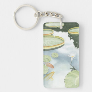 Koi Pond Reflection with Fish and Lilies Key Ring