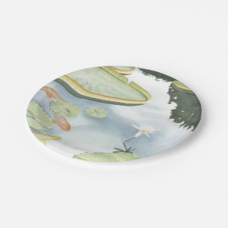 Koi Pond Reflection with Fish and Lilies Paper Plate
