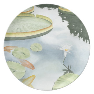 Koi Pond Reflection with Fish and Lilies Plate