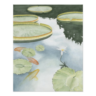 Koi Pond Reflection with Fish and Lilies Poster