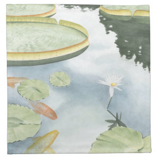 Koi Pond Reflection with Fish and Lilies Printed Napkins
