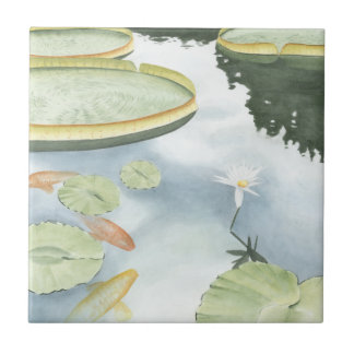 Koi Pond Reflection with Fish and Lilies Tile