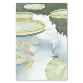 Koi Pond Reflection with Fish and Lilies Tissue Paper