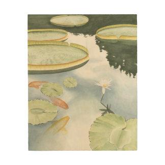 Koi Pond Reflection with Fish and Lilies Wood Print