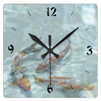 Koi Pond Square Wall Clock