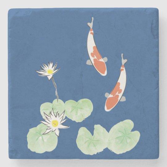 Koi Pond Stone Coaster