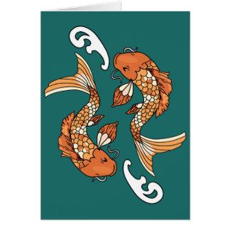 Koi Pond - Vertical greeting card