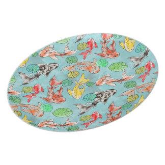 Koi pond watercolors plate