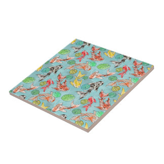 Koi pond watercolors tile