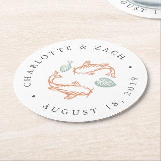 Koi Pond Wedding Round Paper Coaster