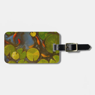 Koi Pond with lily pads and little fish Luggage Tag