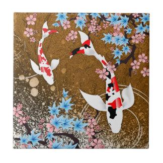 Koi Pond - wood - Japanese Design Ceramic Tile (A)