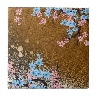 Koi Pond - wood - Japanese Design Ceramic Tile (B)