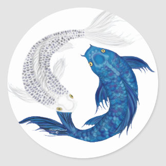 Koi Regal Blue Ghost silver Classic Round Sticker