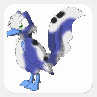 Koi Reptilian Bird - Blueberry/White Bekko/Utsuri Square Sticker