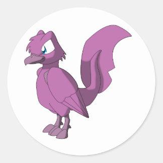 Koi Reptilian Bird - Dark Bubblegum Round Sticker