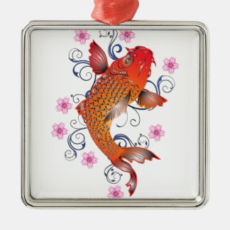 Koi Silver-Colored Square Decoration