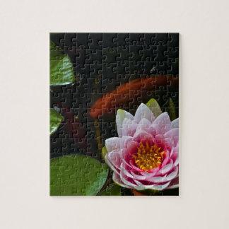 koi  swimming around lotus puzzle