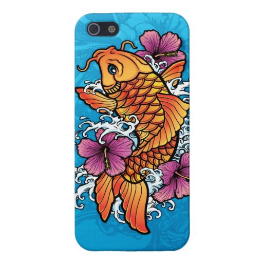 Koi tattoo with purple hibiscus cases for iPhone 5