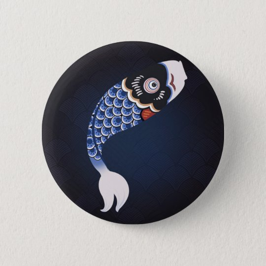 Koinobori - Blue Japanese Fish Flag 6 Cm Round Badge