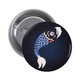 Koinobori - Blue Japanese Fish Flag 6 Cm Round Badge