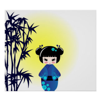 Kokeshi doll and bamboo poster