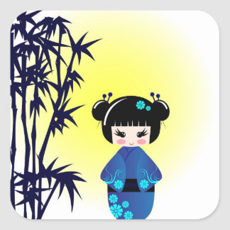 Kokeshi doll and bamboo square sticker