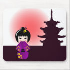 Kokeshi doll and japanese temple mouse mat