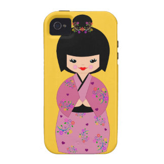 Kokeshi Doll in a Floral Kimono Cell Phone Cover iPhone 4 Cover