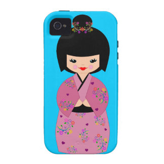 Kokeshi Doll in a  Floral Kimono on Blue Cell Case iPhone 4/4S Covers